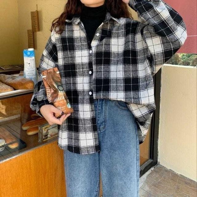 Women Plaid Warm Shirt Female Jacket Checked Coat Casual Turn-down Collar Long Sleeve Autumn Blouse Fashion Loose Outwear Tops 5