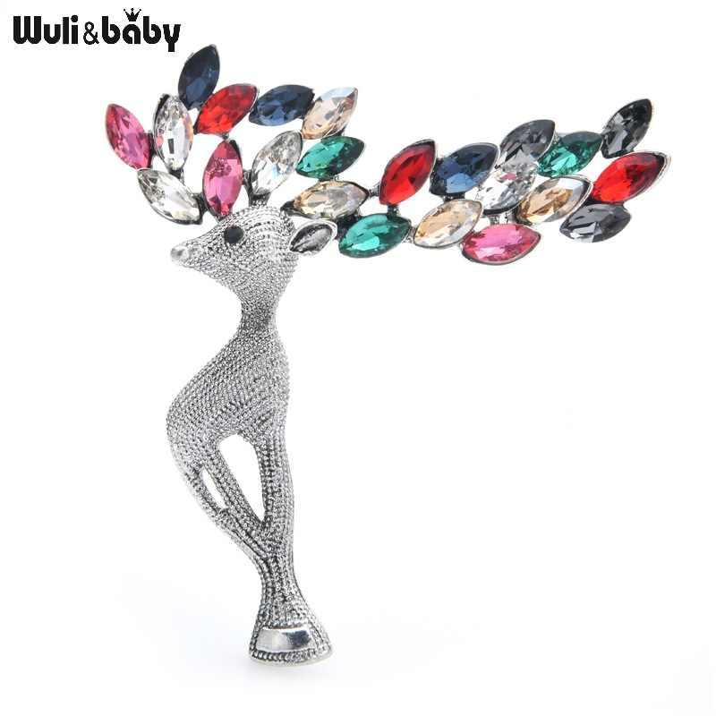 Wuli & תינוק 3-צבע קריסטל צביים בעלי החיים סיכות נשים סגסוגת מסיבת משתה סיכת סיכות ראש השנה מתנות