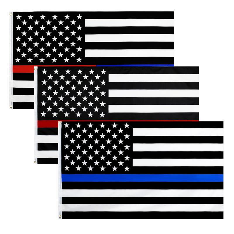 1PC United States Police Stripe <font><b>Flag</b></font> High Quality Double Sided Printed Police Memorial <font><b>Flag</b></font> <font><b>90X150cm</b></font> image
