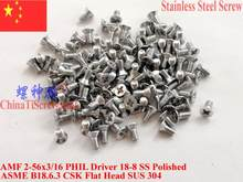 Stainless Steel screws 2-56x3/16 CSK Flat Head PHIL Driver 18-8 SS 100 pcs ROHS(China)