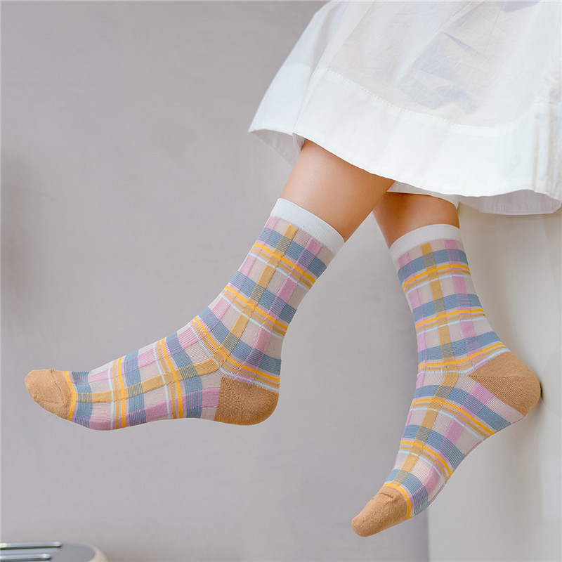 Women England Style Colorful Striped Socks Fashion Plaid Patchwork Color Breathable Socks For Female Striped Original Sox Trendy