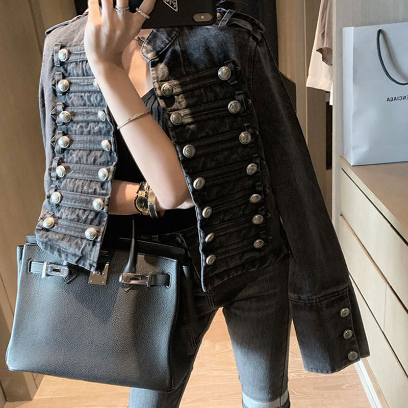 High quality Spring Buttons Black denim Jacket Woman jeans coat vintage Long Sleeve Chic Coat women