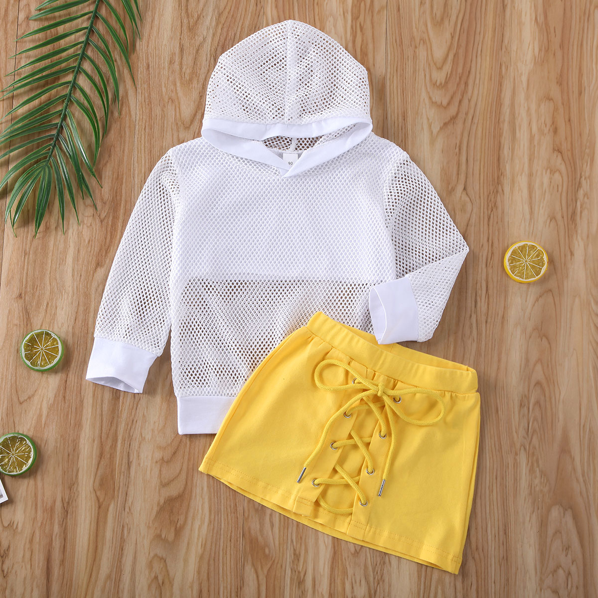 Pudcoco Toddler Baby Girl Clothes Solid Color Long Sleeve Hooded Grid Tops Mini Skirt 2Pcs Outfits Clothes