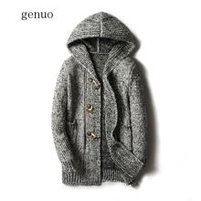5XL Fashion Men Casual Sweater 2019 Winter Thick Coat Slim Cardigan Men Hooded Neck Quality Knitted Brand Male Sweaters Tops