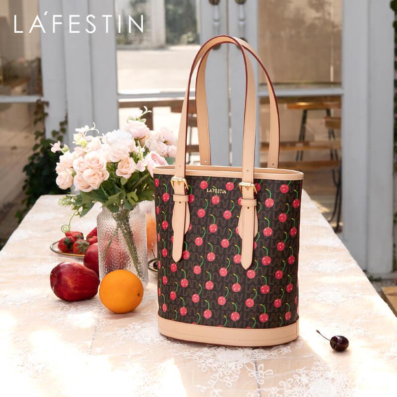 LAFESTIN 2020 New Fashion Shoulder Bag Multifunctional Portable Large Capacity Cherry Bucket Bag Women