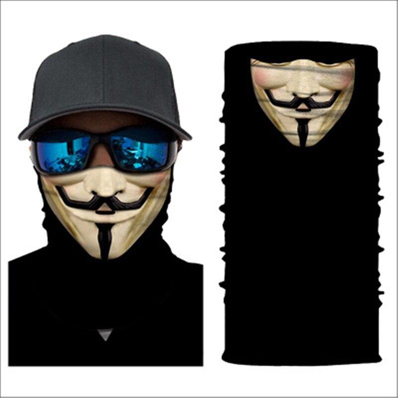 3D Seamless Multifunction Magic Tube La Casa De Papel Demon Men Skull Ghost Shield Face Mask Headband Bandana Headwear Scarf Men