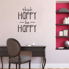 think happy thoughts think Happy be Happy wall sticker English Proverbs home decor living room bedroom decoration Mural wallpaper creative stickers