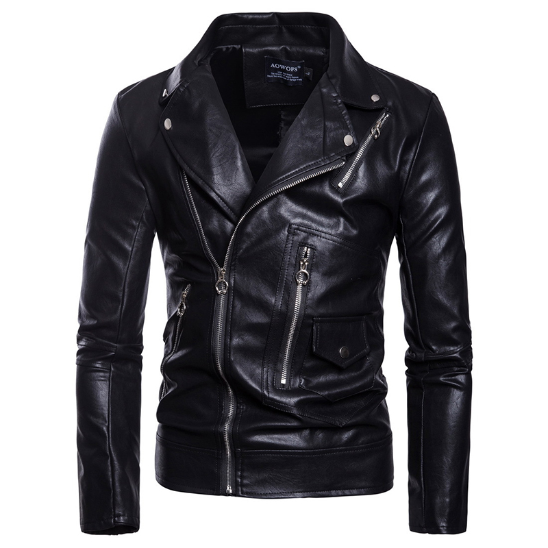 Men Faux Leather Slim Fit Motorcycle Jacket Cool Boy Fleece Outwear Street Coat