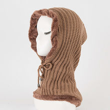Men Women Warm Crochet Winter Plus Velvet Thickening Slouchy Siamese Collar Hat A129(China)