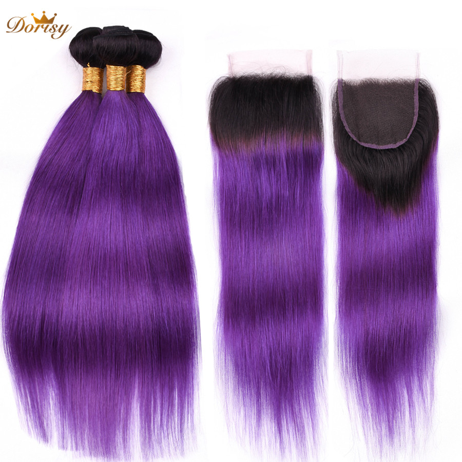 T1b Purple Ombre Peruvian Straight Hair Bundles With Closure Human Hair Bundles With Lace Closure Dorisy Remy Hair For Women