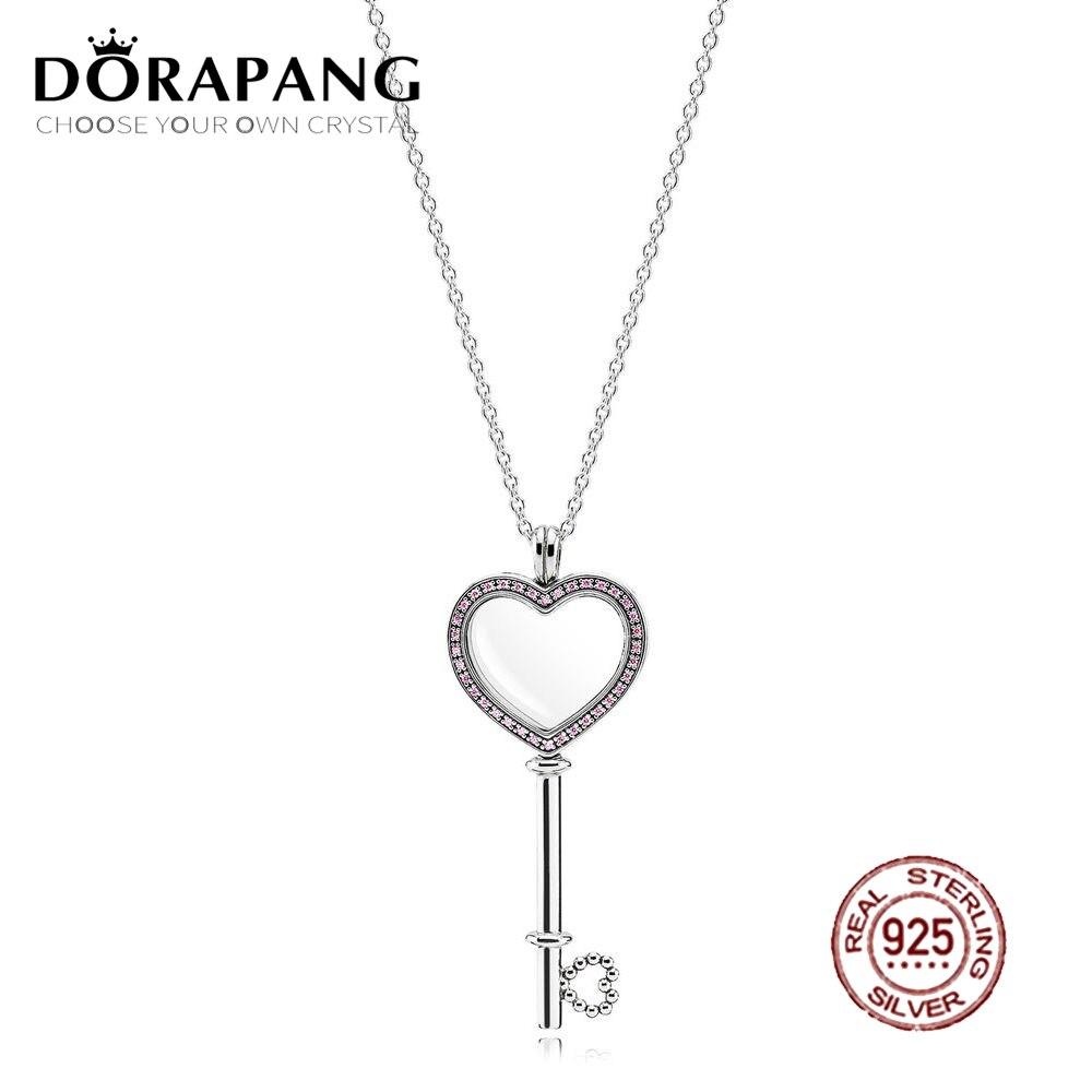 2018 saint valentin plus récent 100% 925 argent Sterling rose en forme de coeur grande clé médaillon flottant pour les femmes bijoux de mode