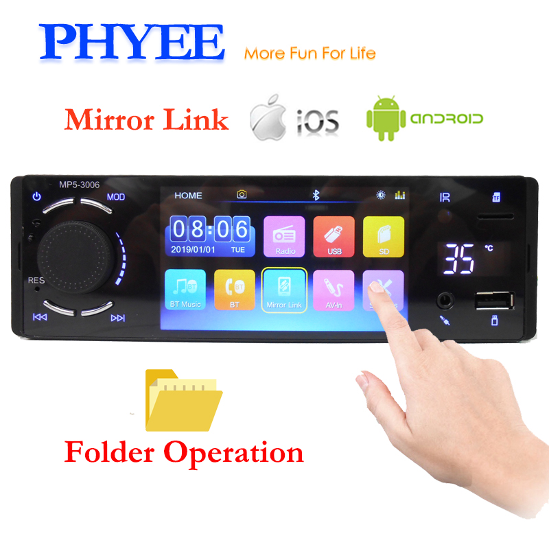 PHYEE 1 Din Car Radio Mirror Link Bluetooth Handsfree 4 Touch Screen MP5 Video Player USB TF Folder Control ISO Head Unit 3006 image