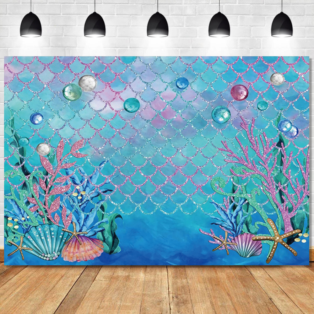 Mermaid Backdrop Photography Birthday Party Fish Scale Baby Photozone Banner Poster Photo Studio Photo Background Baby Shower