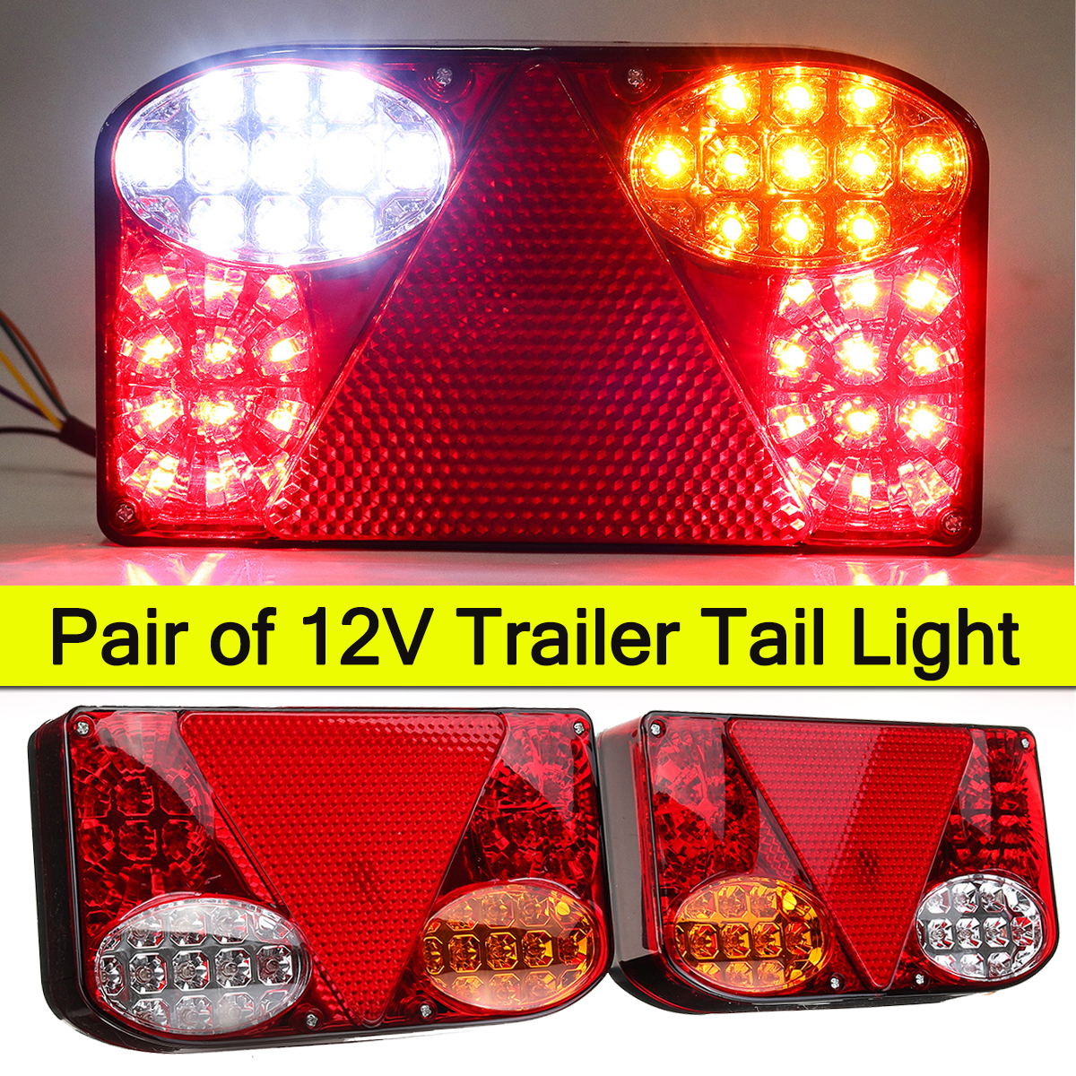 2X 12V LED Car Tail Light Rear Lamps For Trailer Truck Van Campers Pick-ups Boat ATV Tippers Chassis Lighting Waterproof Durable