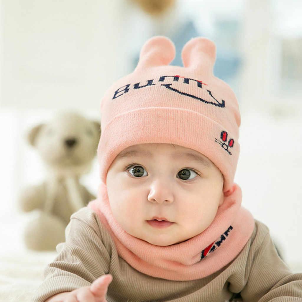 Newborn Kids Baby Boy Girl Scarf Hat Set Winter Warm Crochet Knit Beanie Cap