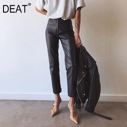 DEAT 2021 high waist anlke length pants PU leather high quality pencil trousers SPring and autumn fashion WM28001L