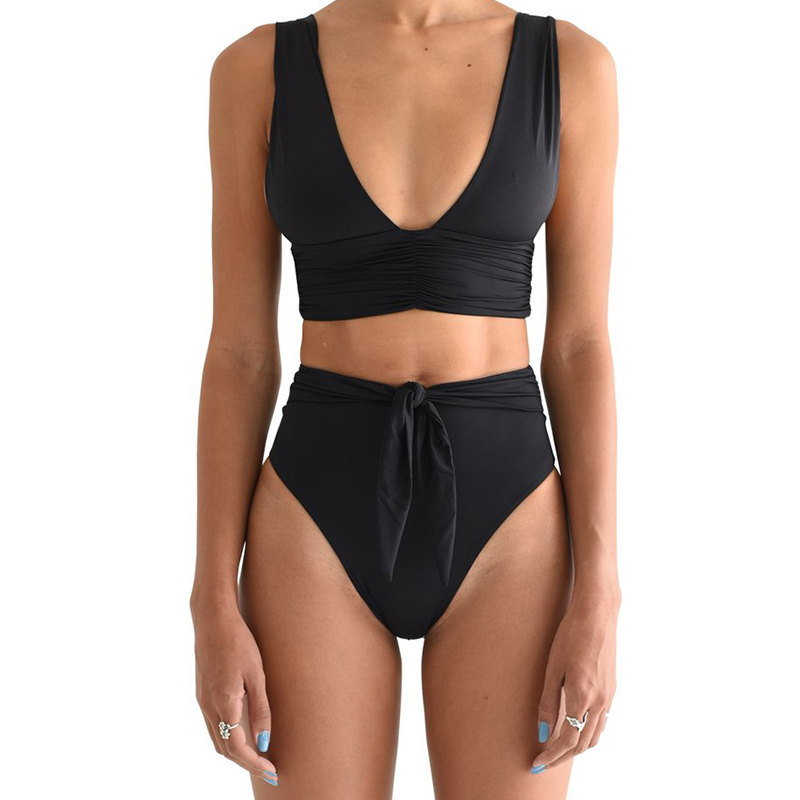 Deep v-neck swimwear women High waist bikini set Solid bathing suit 2019 Fashion summer bathers Knot swimsuit female biquini new 3