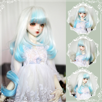 BJD/SD Dolls Wig Hair Heat Resistant Wire Long Curly White  Blue  Ombre Wigs With Bangs for 1/3 1/4 1/6 Dolls muziwig new style bjd sd dolls wig hair heat resistant wire short curly wigs for 1 3 1 4 dolls accessories