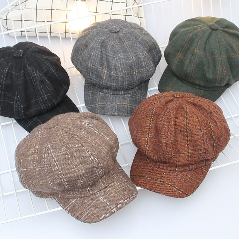 New Wool Women Beret Autumn Winter Octagonal Cap Hats Stylish Artist Painter Newsboy Caps Black Grey Fashion Beret Hats