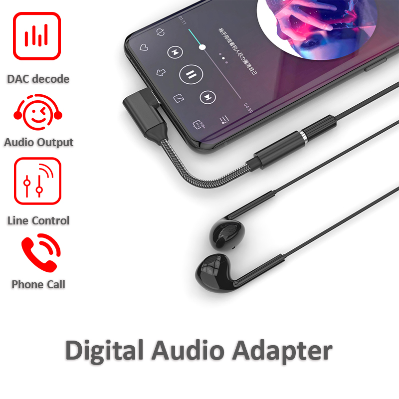 USB C To 3.5mm Audio Adapter With DAC Decoder PCM 16Bits/48kHz For Google Pixel SAMSUNG Note10 Note 10+ Android Mobile IPad Pro