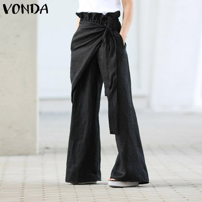 S-5XL Women Wide Leg Pants VONDA 2020 Spring Summer Female Casual Elastic Waist Pants Women's Trousers Plus Size Bottom Pantalon
