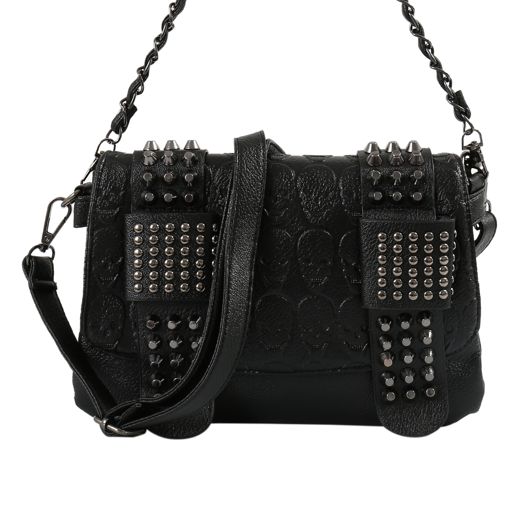 Clutch Purse Handbags Wallets Rivets-Shoulder Women Bag Messenger Vintage Leather Wedding title=