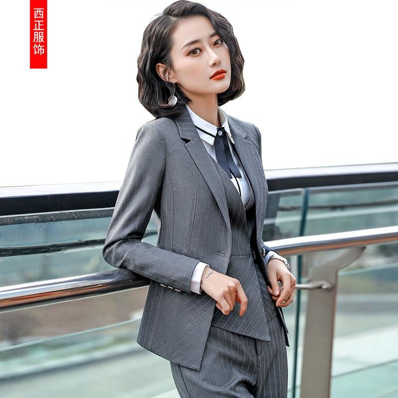 Striped Suit Business Suit Women's 2018 New Style Autumn And Winter Fashion Elegant Slim Fit Women's Suit Formal Wear Work Cloth