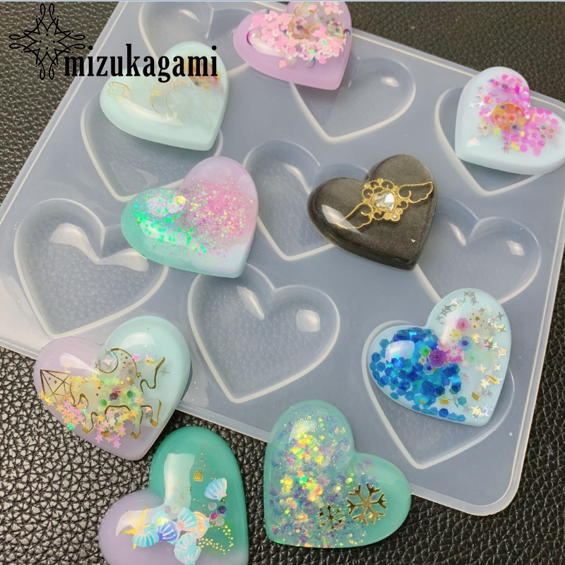 UV Resin Jewelry Liquid Silicone Mold Heart Charms Resin Molds For DIY Pendant Jewelry Making Molds