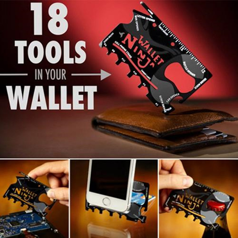Stainless Steel High Hardness Ninja Saber Card Wallet Hand Tool Sets Outdoor Emergency Survival Multi-function Combination Tool