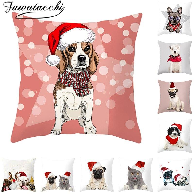 Capas de Almofada Cão Fuwatacchi AnimalsThrow Fronha para o Sofá de Casa Decorativo Fronhas Fronha 45*45 Feliz Ano Novo cm