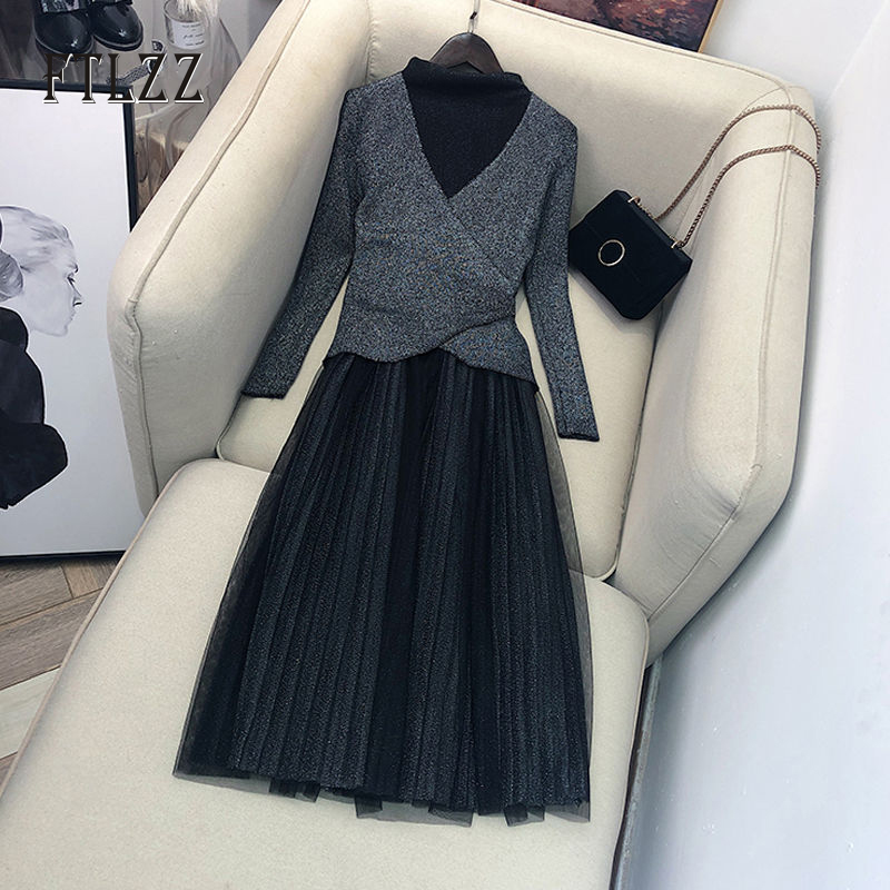 Autumn Lace Dress New 2019 Fashion Women Slim Knitted Sweater And Mesh Dresses Vintage Ladies Elegant Long Robe Vestidos Mujer
