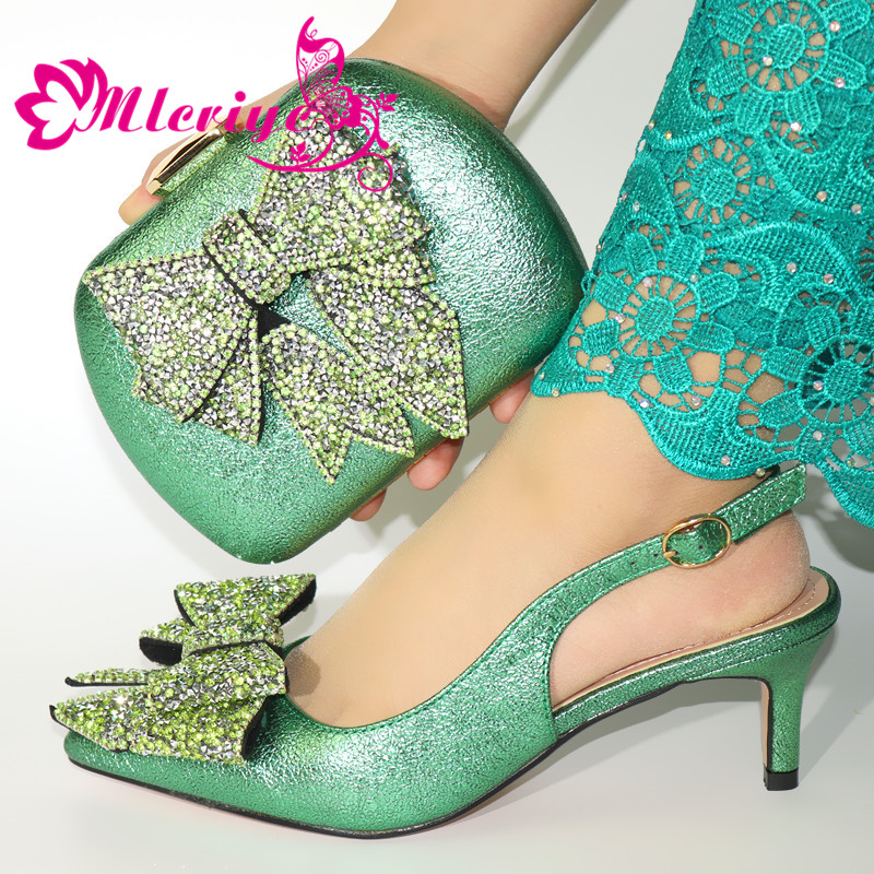 Good Price Shoes And Bag Matching Set With Green Hot Selling Women Italian Shoes And Bag Set For Party Wedding