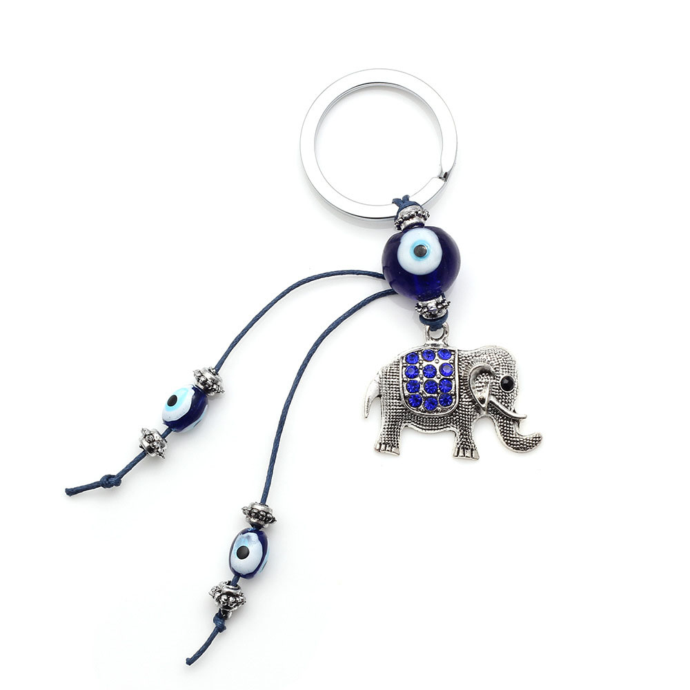 Fashion Elephant Lucky Evil Eye Charms Eye Beads Tassel Amulet Car Keychain Decoration Jewelry Auto Accessories Woman Man Gifts