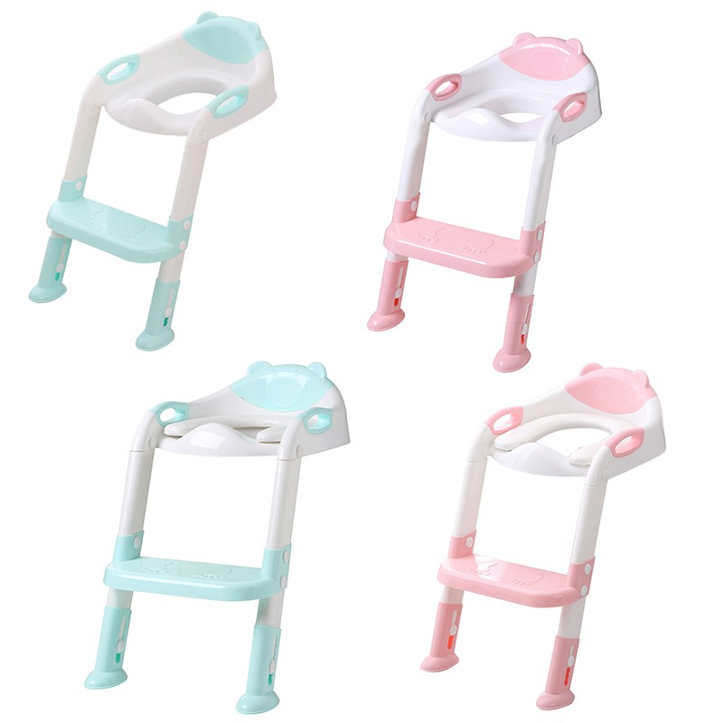 Baby PP Foldable Reusable Smooth Useful Anti-Slip Adjustable Trainer Seat Toilet Training Folding Seat Step Stools