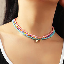 Bohemian Multilayer Seed Bead Star Moon Butterfly Pendant Necklace For Women Fashion Beach Simple Lock Choker Collar Gift