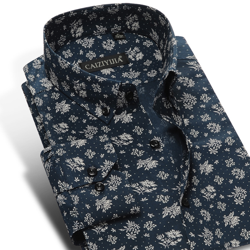 Men's Fashion Floral Printed Long Sleeve Cotton Shirts Comfortable Standard-fit Button-down Thin Casual Blouse Tops Shirt