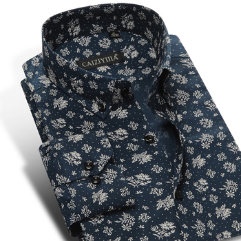 Men's Fashion Floral Printed Long Sleeve Cotton Shirts