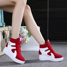 High top shoes emery leather color womens spring and autumn leisure travel muffin single shoe thick sole increase