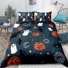 Halloween Duvet Cover Set Pumpkin Lantern Ghost Web Quilt Bedclothes Pillowcase Bed Bedding UK King Linen