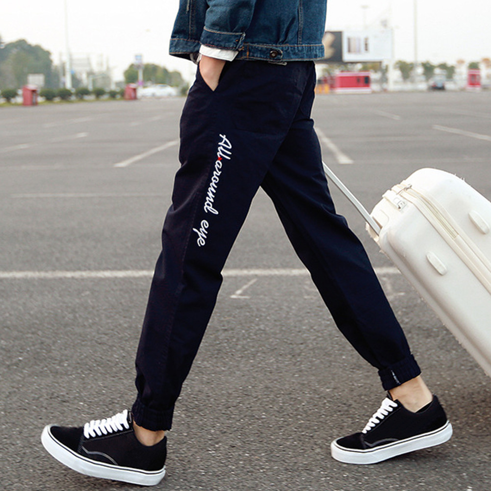 Fashion Jogging Loose Men Pants Outdoor Sports Trousers Ankle Tied Mid Waist Elastic Hip-Hop Embroidery Spring Autumn Casual