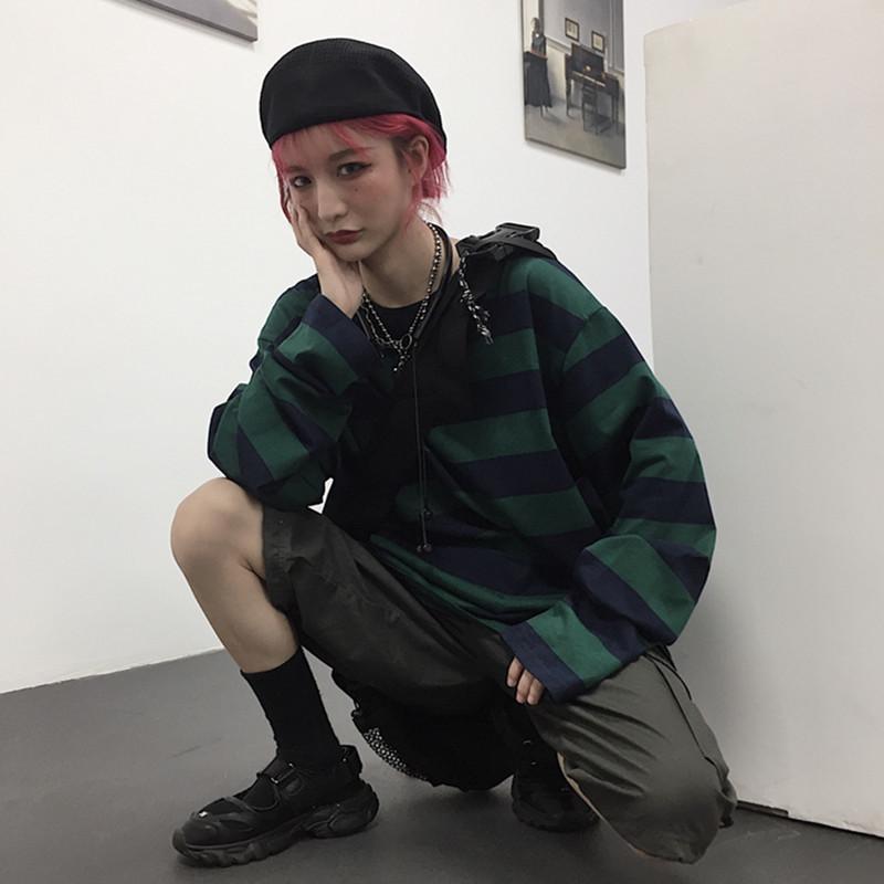 Harajuku Oversized High Street Stripe T shirt long sleeves vintage style All match fashion Unisex clothes Japanese Streetwear