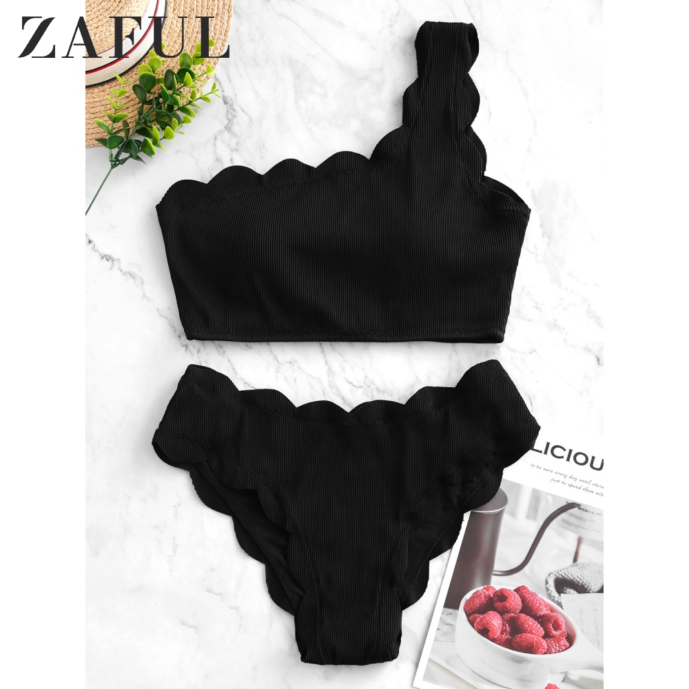 ZAFUL Women Textured Ribbed Scalloped One Shoulder Tankini Swimsuit 2020 Solid Color Elegant Swimwear Two Piece Bathing Suits