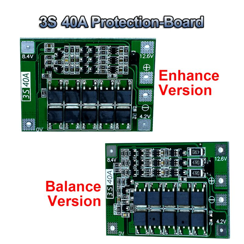 3S/4S 40A Li-ion Lithium Battery Charger PCB BMS Protection Board With Balance/Enhance For Drill Motor Lipo Cell Module Board image