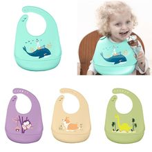 Cartoon Adjustable Toddlers Baby Feeding Saliva Towel Children Kids Waterproof Silicone Bibs Burp Cloth feeding patterns practiced by toddlers parents