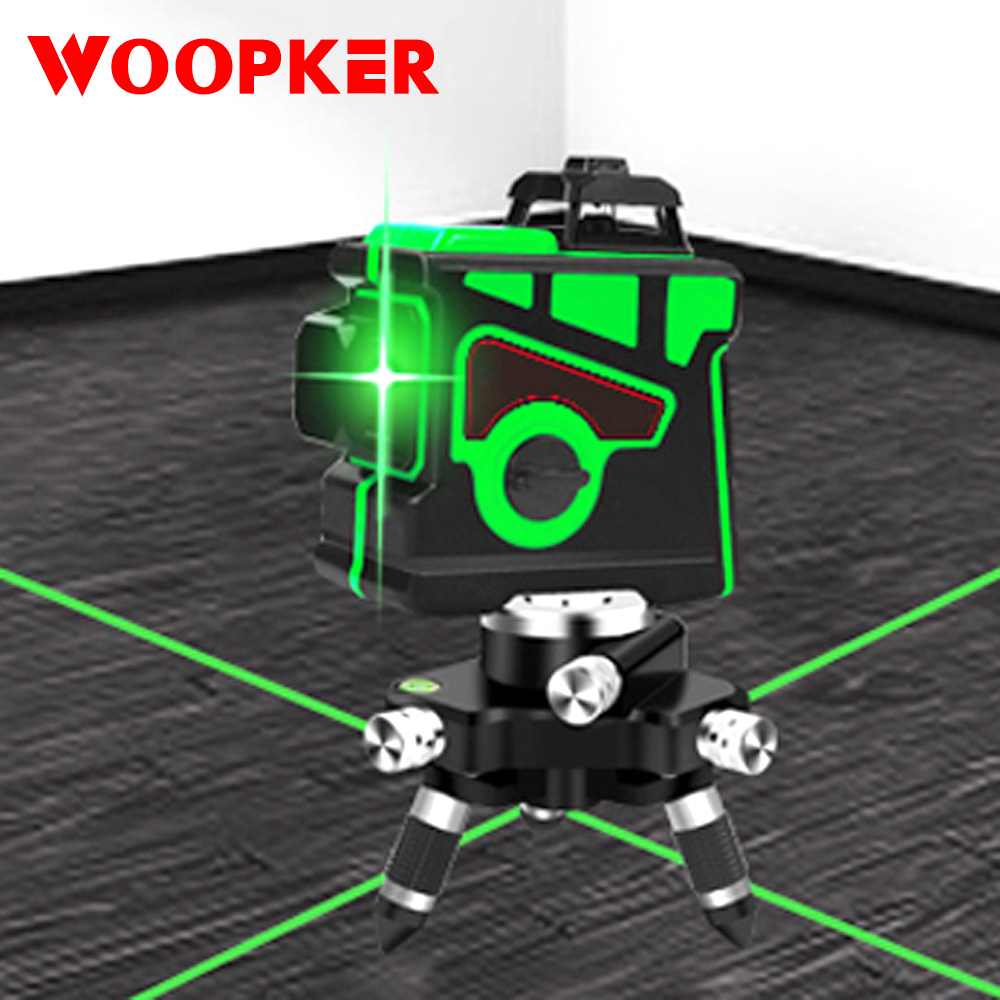 3D Laser Level 12 Line Automatic Line Meter Horizontal and Vertical Cross Powerful Green Lasers Leveler Beam Line