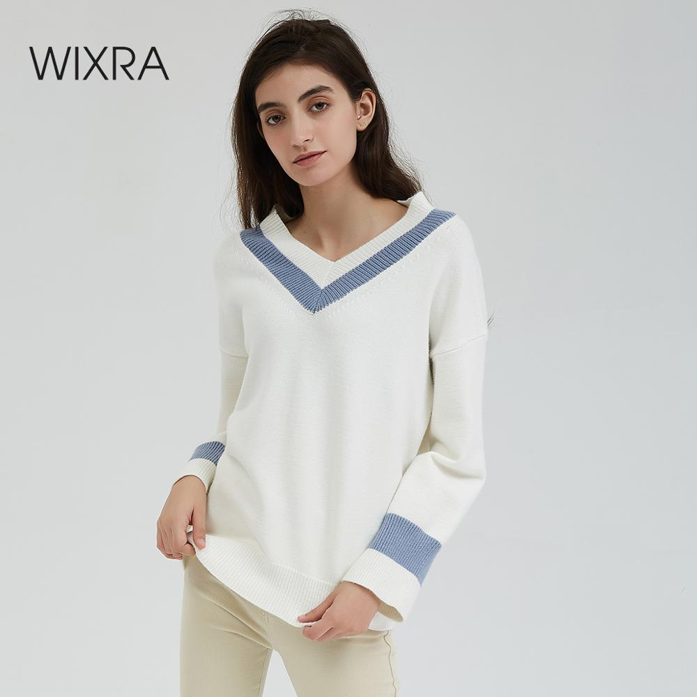 Wixra Autumn Winter V Neck Sweaters Women Casual Knitted Sweater Warm Long Sleeve Preppy Style Pullovers