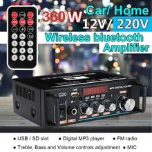 12V 220V 360W G20 Audio Bluetooth Senza Fili Amplificatore HiFi Subwoofer Home Theater Amplificador Audio Auto Radio Amplificatori spina di UE