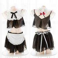 Japanese Cute Women Sexy Lingerie Set Cosplay French Apron Maid Lolita Sexy Costume Babydoll Dress Uniform Erotic Role Play