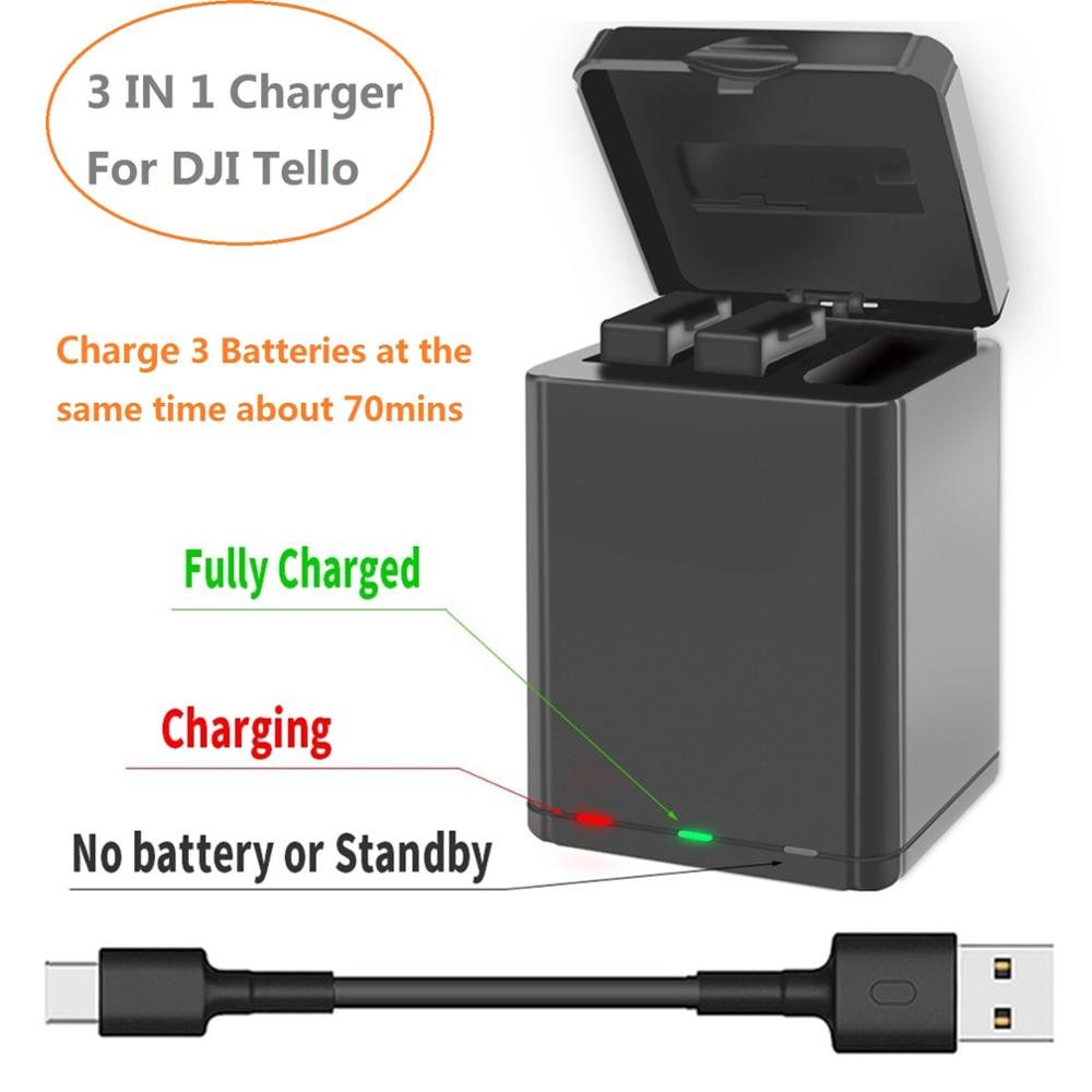 3 IN 1 Battery Charger Smart Charger USB Charging Box For DJI Tello Drone Battery Charging Hub Outdoor Charger Accessory