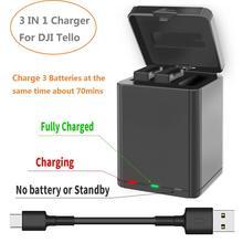 Carregador de bateria 3 em 1 para dji tello, conector usb caixa de carregamento para drone dji tello acessório carregador de bateria ao ar livre
